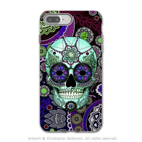 Purple Paisley Sugar Skull - Artistic iPhone 8 PLUS Tough Case - Dual Layer Protection - Sugar Skull Sombrero Night - iPhone 8 Plus Tough Case - Fusion Idol Arts - New Mexico Artist Christopher Beikmann