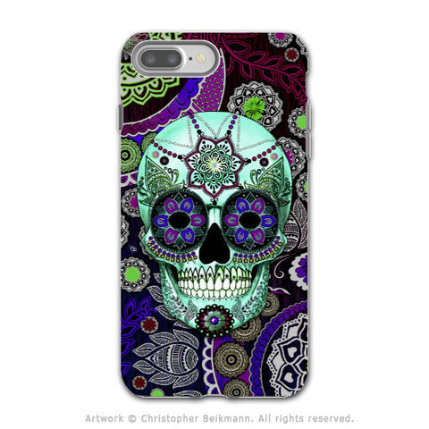 Purple Paisley Sugar Skull - Artistic iPhone 7 PLUS - 7s PLUS Tough Case - Dual Layer Protection - Sugar Skull Sombrero Night - iPhone 7 Plus Tough Case - Fusion Idol Arts - New Mexico Artist Christopher Beikmann