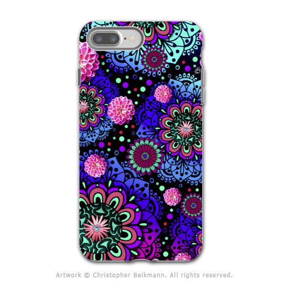 Colorful Modern Paisley - Artistic iPhone 7 PLUS Tough Case - Dual Layer Protection - Frilly Floratopia - iPhone 7 Plus Tough Case - Fusion Idol Arts - New Mexico Artist Christopher Beikmann