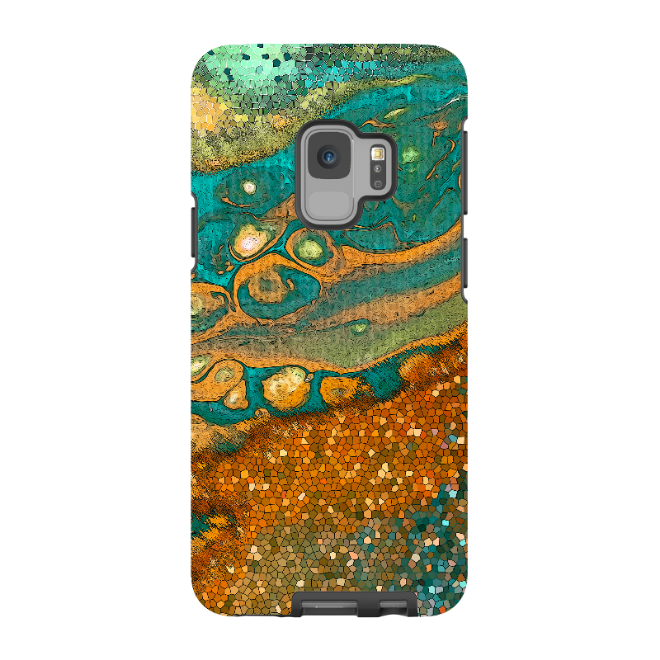 Rusty Pixels - Galaxy S9 / S9 Plus / Note 9 Tough Case - Dual Layer Protection for Samsung S9 - Green and Orange Abstract Art Case - Galaxy S9 / S9+ / Note 9 - Fusion Idol Arts - New Mexico Artist Christopher Beikmann