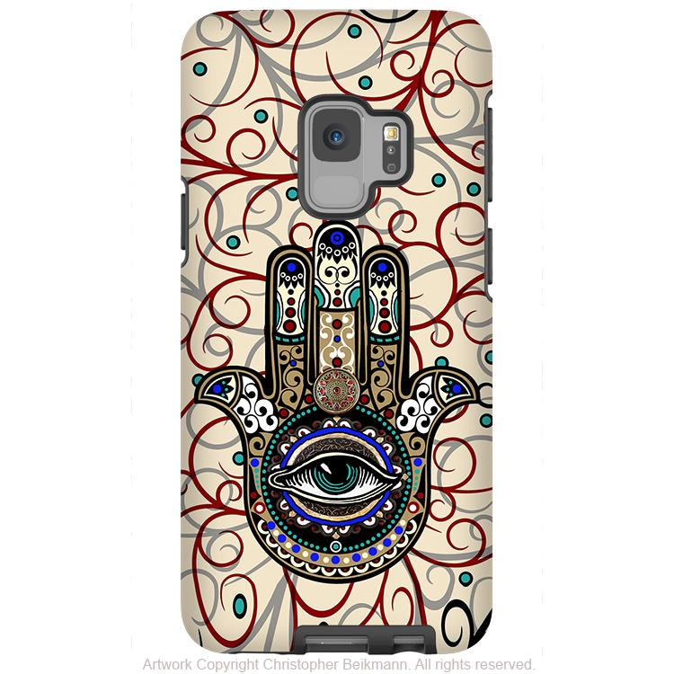 Sacred Defender Hamsa - Galaxy S9 / S9 Plus / Note 9 Tough Case - Dual Layer Protection for Samsung S9 - Evil Eye Protection Case - Galaxy S9 / S9+ / Note 9 - Fusion Idol Arts - New Mexico Artist Christopher Beikmann