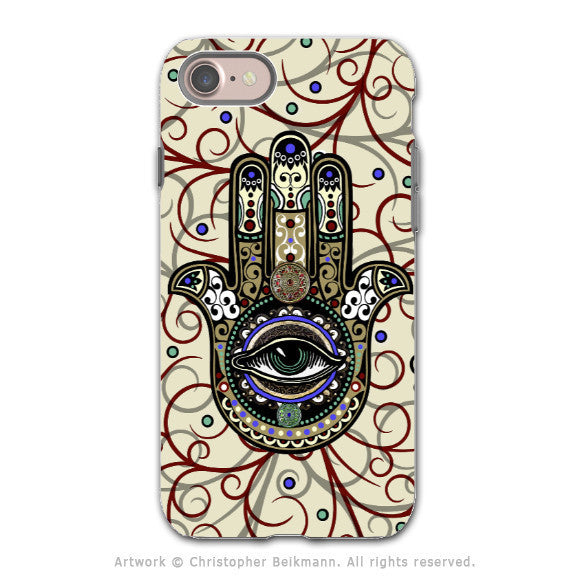 Hamsa Hand - Evil Eye Protector - Artistic iPhone 8 Tough Case - Dual Layer Protection - Sacred Defender Hamsa - iPhone 8 Tough Case - Fusion Idol Arts - New Mexico Artist Christopher Beikmann