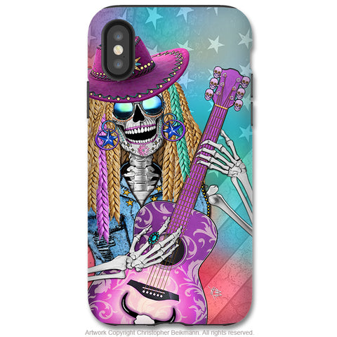 Scary Underwood - iPhone X / XS / XS Max / XR Tough Case - Dual Layer Protection for Apple iPhone 10 - Country Western Sugar Skull - iPhone X Tough Case - Fusion Idol Arts - New Mexico Artist Christopher Beikmann