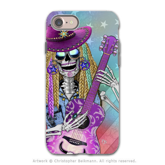 Country Girl Music Skull - Artistic iPhone 7 Tough Case - Dual Layer Protection - Scary Underwood - iPhone 7 Tough Case - Fusion Idol Arts - New Mexico Artist Christopher Beikmann