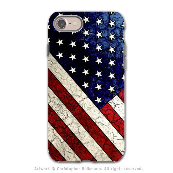 American Flag Weathered iPhone 8 Tough Case - Dual Layer Protection - U.S. Flag Case - Stars and Stripes - iPhone 8 Tough Case - Fusion Idol Arts - New Mexico Artist Christopher Beikmann