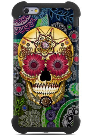 Colorful Sugar Skull Paisley Garden - iPhone 6 Plus / iPhone 6s Plus SUPER BUMPER Case - iPhone 6 6s Plus SUPER BUMPER Case - Fusion Idol Arts - New Mexico Artist Christopher Beikmann