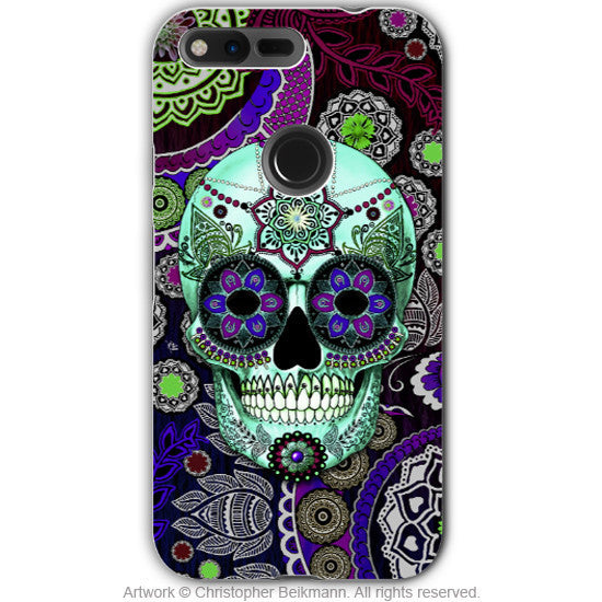 Purple Paisley Sugar Skull - Artistic Google Pixel Tough Case - Dual Layer Protection - sugar skull sombrero night - Google Pixel Tough Case - Fusion Idol Arts - New Mexico Artist Christopher Beikmann
