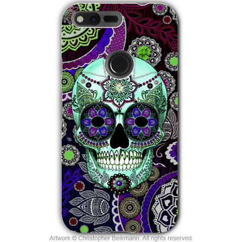 Purple Paisley Sugar Skull - Artistic Google Pixel Tough Case - Dual Layer Protection - sugar skull sombrero night, Google Pixel Tough Case - Christopher Beikmann