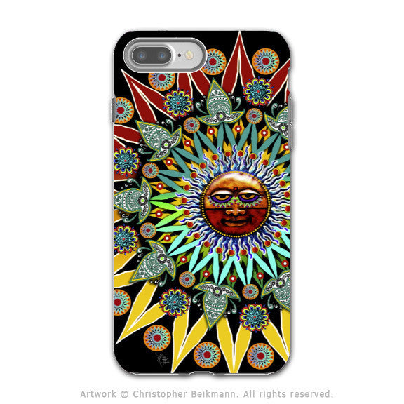 Tribal Aztec Sun - Artistic iPhone 7 PLUS - 7s PLUS Tough Case - Dual Layer Protection - Sun Shaman - iPhone 7 Plus Tough Case - Fusion Idol Arts - New Mexico Artist Christopher Beikmann