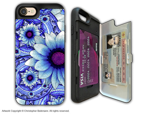 Blue Boho Floral - Artistic Apple iPhone 7 Card Holder Case - Protective Wallet Case - talavera alejandra - iPhone 7 Card Holder Case - Fusion Idol Arts - New Mexico Artist Christopher Beikmann