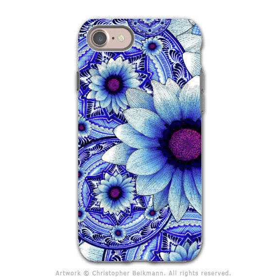 Blue Floral Apple iPhone 8 Tough Case - Dual Layer Protection - Talavera Alejandra - iPhone 8 Tough Case - Fusion Idol Arts - New Mexico Artist Christopher Beikmann