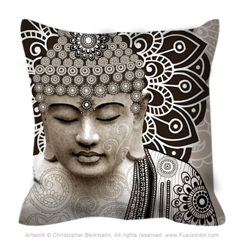 Tan Paisley Buddha Throw Pillow - Meditation Mehndi - Throw Pillow - Fusion Idol Arts - New Mexico Artist Christopher Beikmann