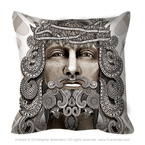 Tan Paisley Jesus Throw Pillow - Redeemer Christ Iconography Art - Throw Pillow - Fusion Idol Arts - New Mexico Artist Christopher Beikmann