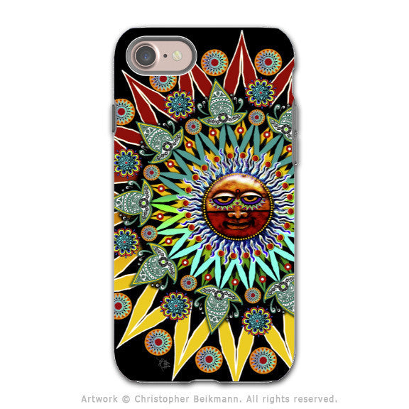 Tribal Aztec Sun - Artistic iPhone 8 Tough Case - Dual Layer Protection - Sun Shaman - iPhone 8 Tough Case - Fusion Idol Arts - New Mexico Artist Christopher Beikmann