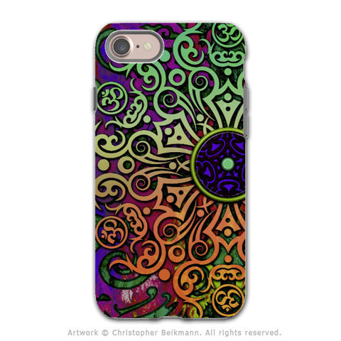 Tribal Mandala Art - Artistic iPhone 8 Tough Case - Dual Layer Protection - Tribal Transcendence - iPhone 8 Tough Case - Fusion Idol Arts - New Mexico Artist Christopher Beikmann