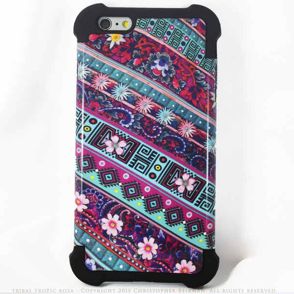 Pink Tribal Floral iPhone 6 Plus - 6s Plus Case - Tribal Tropic Rosa - Floral iPhone 6 Plus SUPER BUMPER Case - iPhone 6 6s Plus SUPER BUMPER Case - Fusion Idol Arts - New Mexico Artist Christopher Beikmann