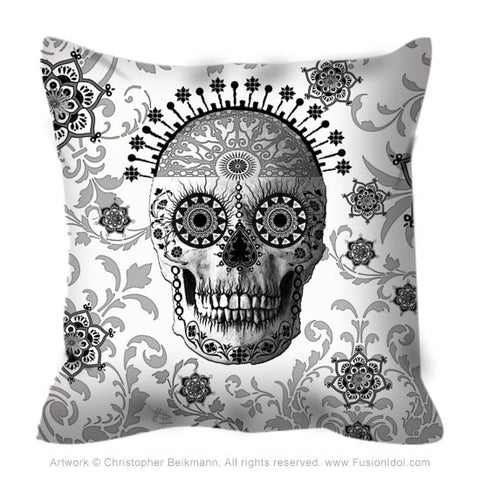 Black and White Sugar Skull Throw Pillow - Victorian Bones - Throw Pillow - Fusion Idol Arts - New Mexico Artist Christopher Beikmann
