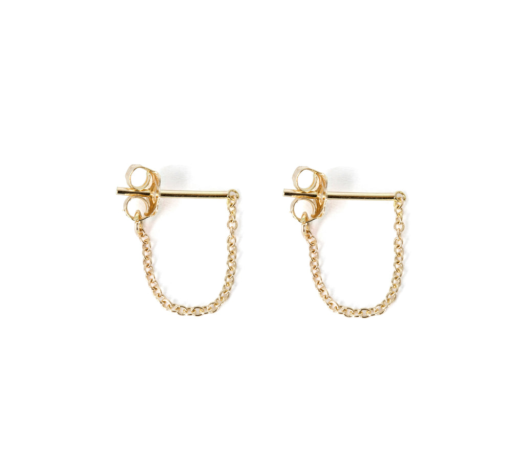 Chain Post Drop Earrings, 14K Yellow Gold or Sterling Silver