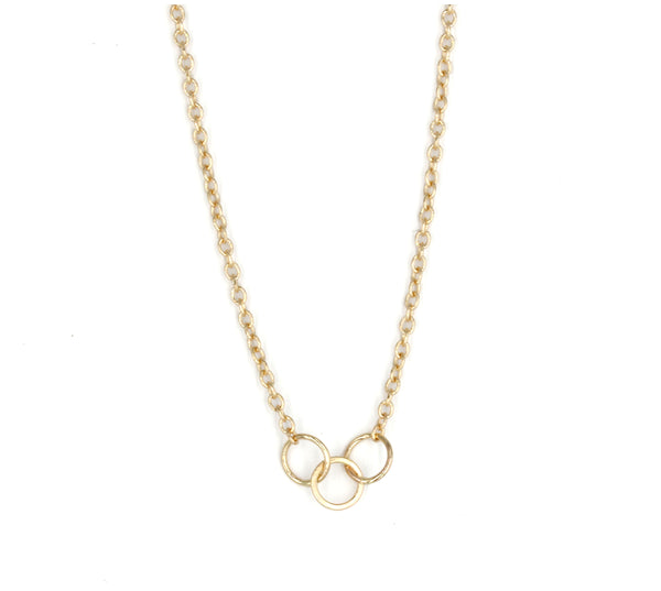3 Ring Necklace, 14K Yellow Gold, Sterling Silver, or 14K Yellow Gold with Oxidized Silver Chain