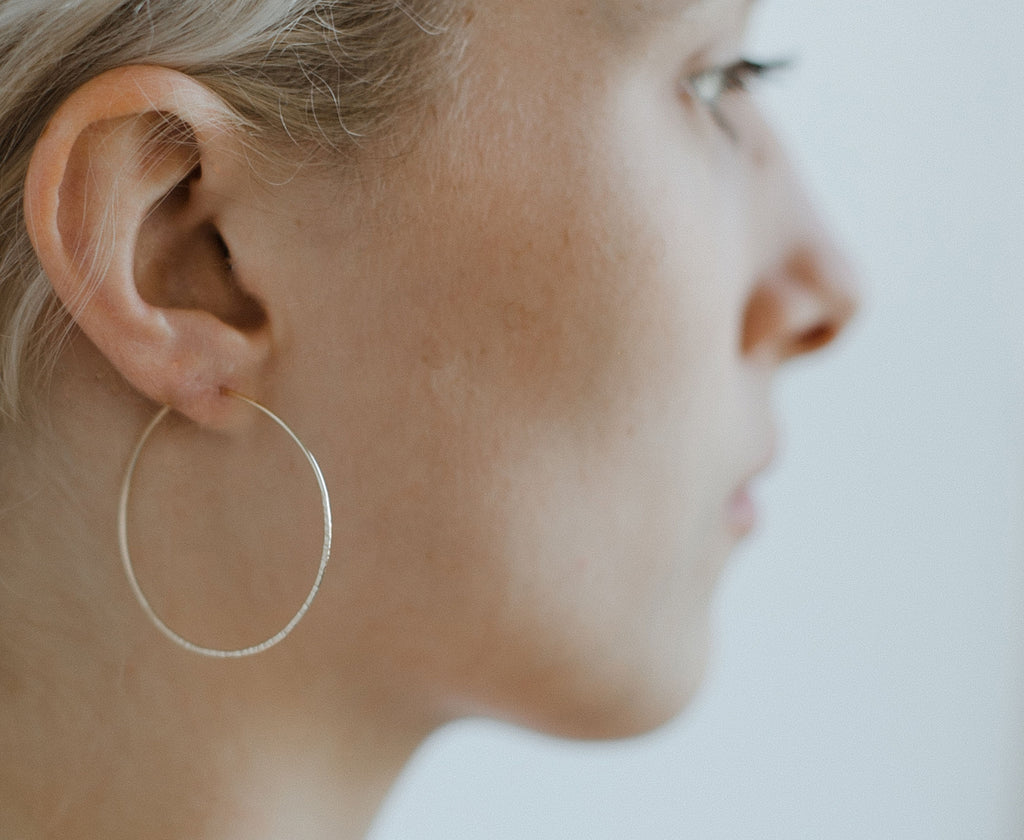 "Christine, 1 1/2"" Textured Hoop Earrings"