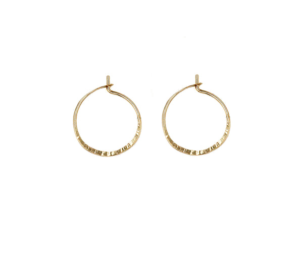 "Mae, 3/4"" Textured Hoop Earrings"