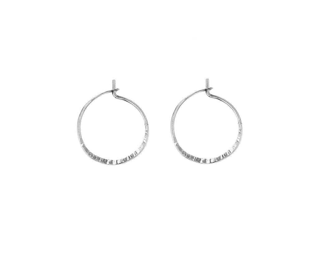 "Mae, .75"" Textured Hoop Earrings"