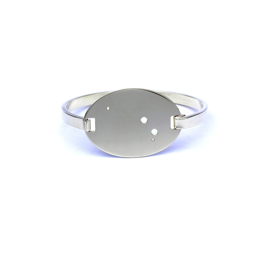 High Polished Raw Brass Zodiac Constellation Oval Bracelet, All 12 Signs: Aries through Pisces