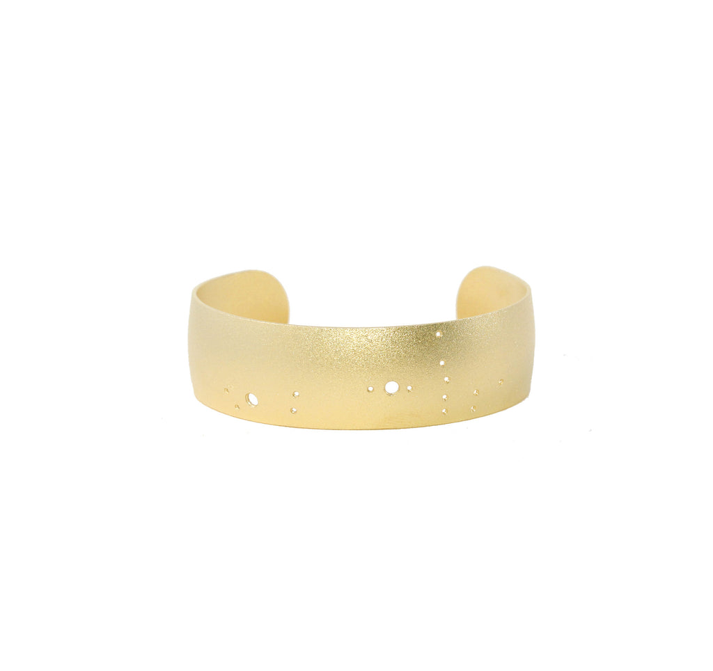 14kt Gold Dipped Zodiac Constellation Cuff Bracelet, All 12 Signs: Aries through Pisces