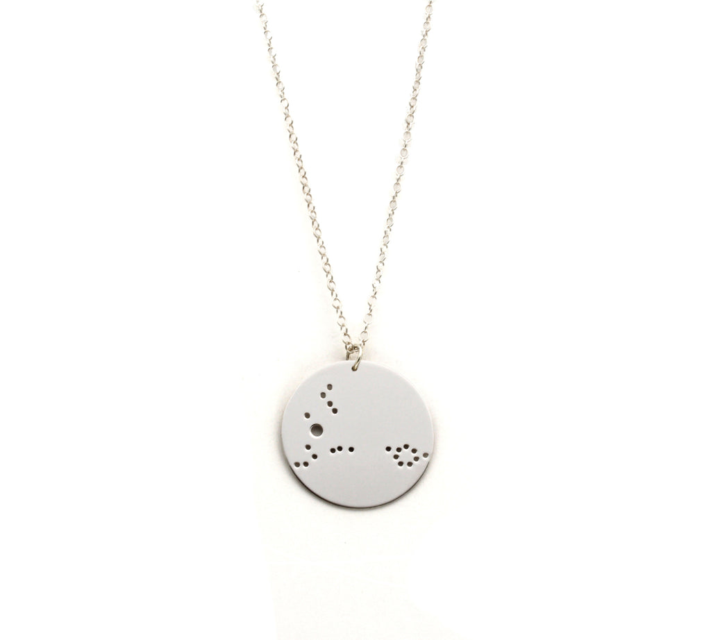 "Sterling Silver Dipped 1.25"" Zodiac Constellation Necklace, All 12 Signs: Aries through Pisces"