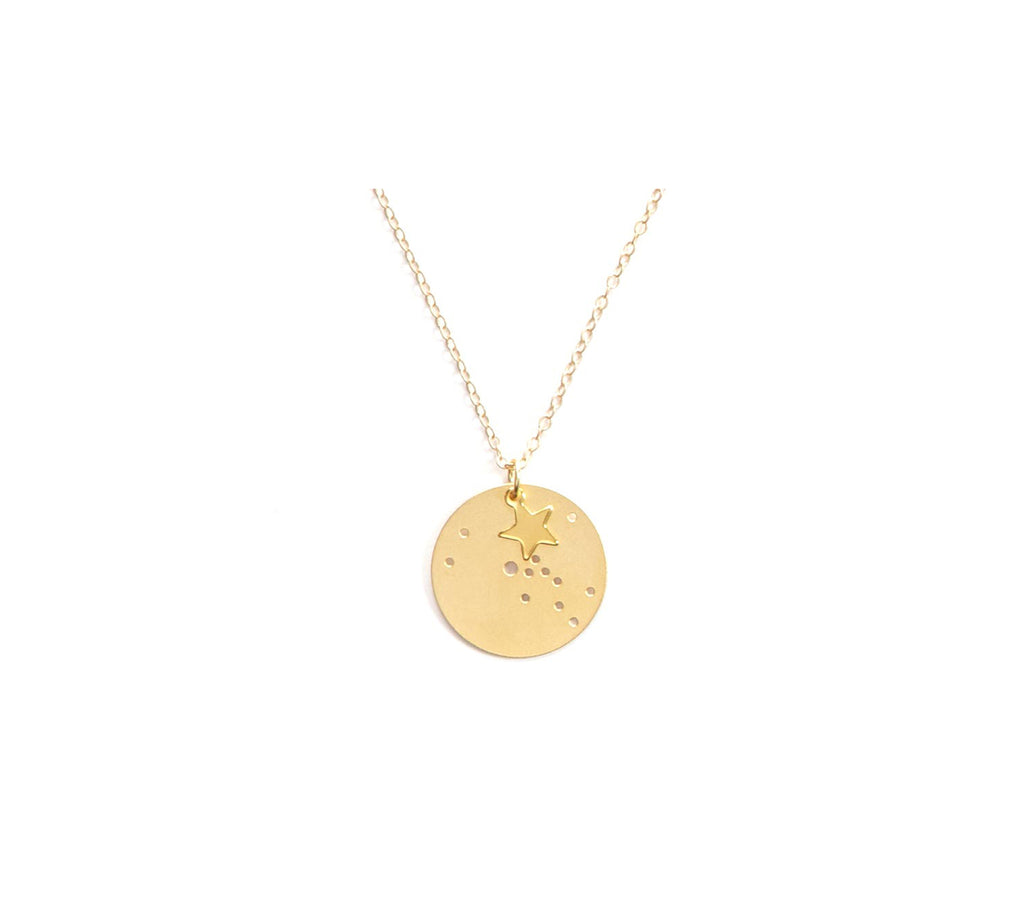 "14kt Gold Dipped 7/8"" Zodiac Constellation Charm Necklace, All 12 Signs: Aries through Pisces"