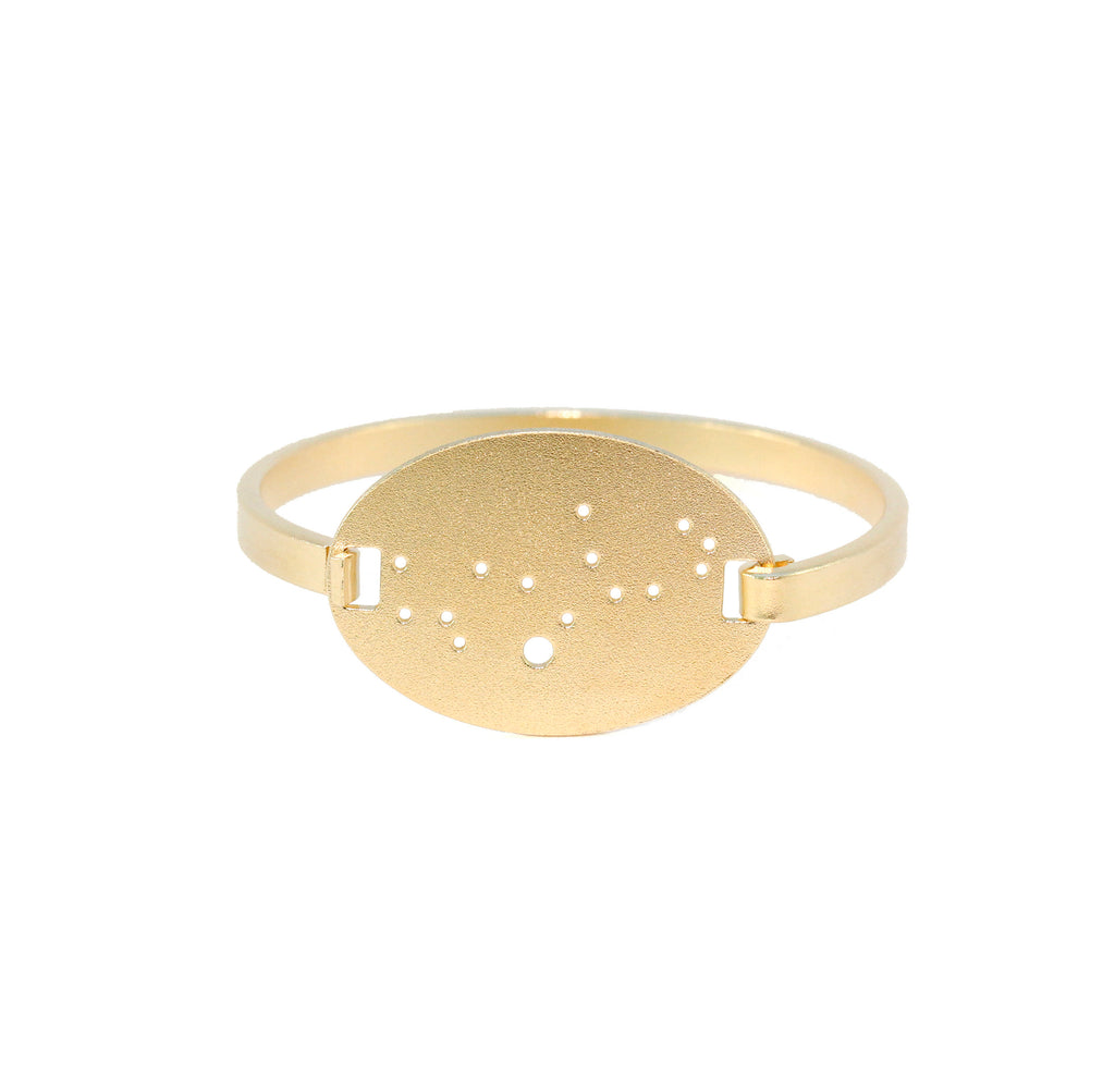 14kt Gold Dipped Zodiac Constellation Oval Bracelet, All 12 Signs: Aries through Pisces