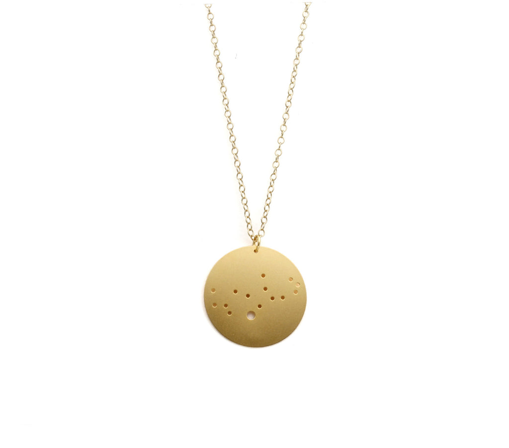 "14kt Gold Dipped 1.25"" Zodiac Constellation Necklace, All 12 Signs: Aries through Pisces"