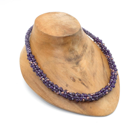 Semi-precious stones beaded Kumihimo necklace with magnetic clasp