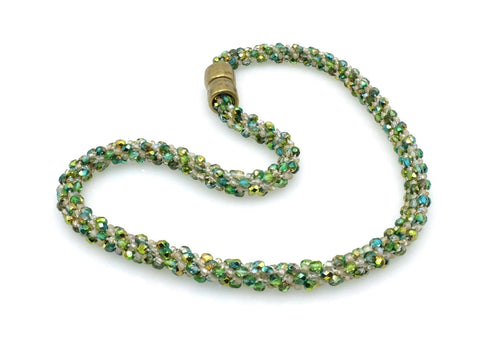 Necklace - Green Glass Beaded Kumihimo Necklace