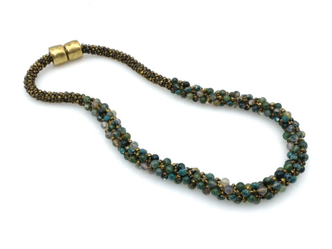 Necklace - Moss Agate Beaded Necklace