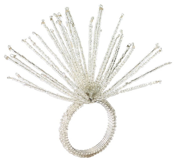 Spider Bead Burst Napkin Ring, Crystal/Silver