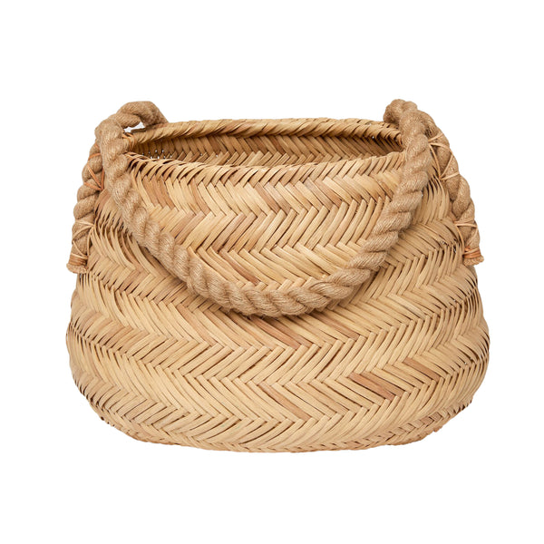 pigeon and poodle saunier rattan round basket, natural