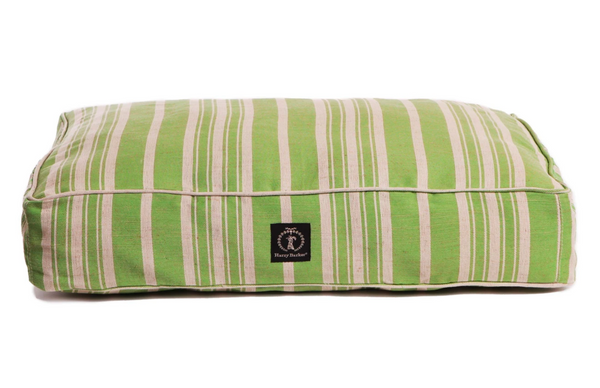Green Classic Stripe Dog Bed with Insert, Small