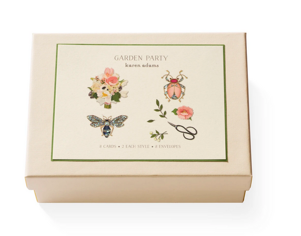 Karen Adams Note Card Box, Garden Party