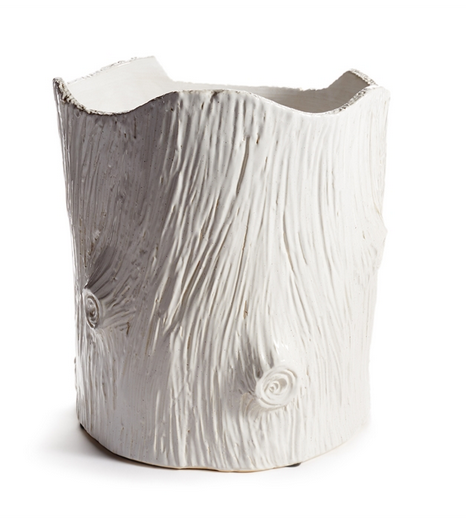 Modern White Faux Bois Pot, Large