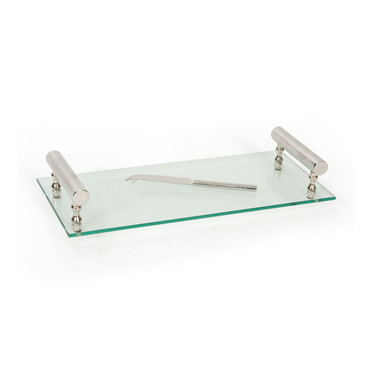 contemporary glass and nickel tray with knife