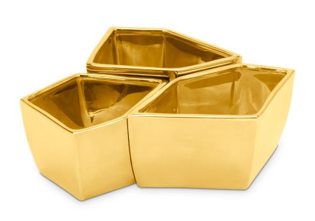 set of three gold dipped geo bowls