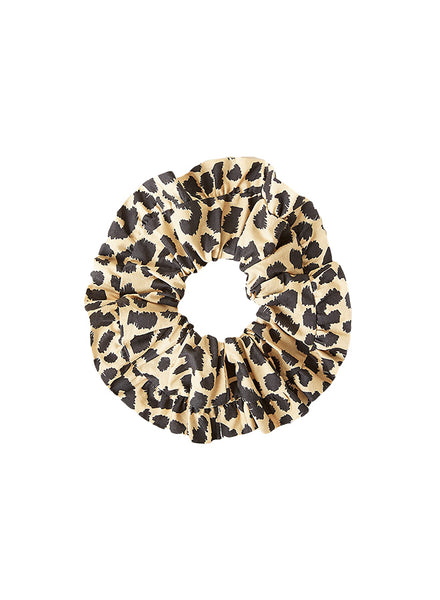 Loeffler Randall Pleated Edge Scrunchie, Leopard