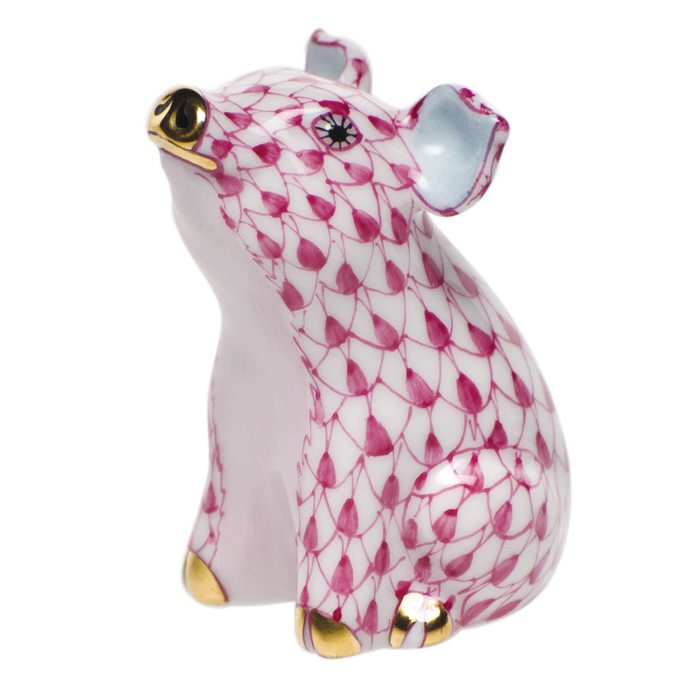 Herend Little Pig Sitting, Raspberry Pink