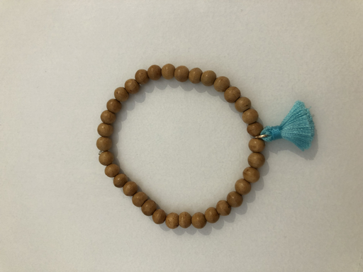 Wood Tassel Bracelet, Blue