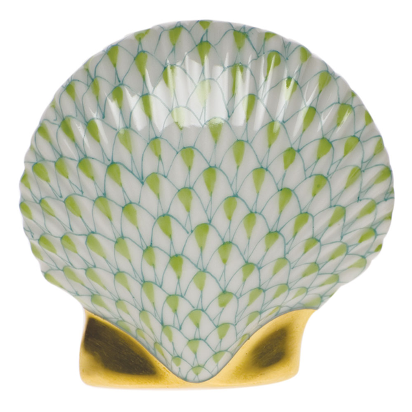 Herend Miniature Scallop Shell, Key Lime Green