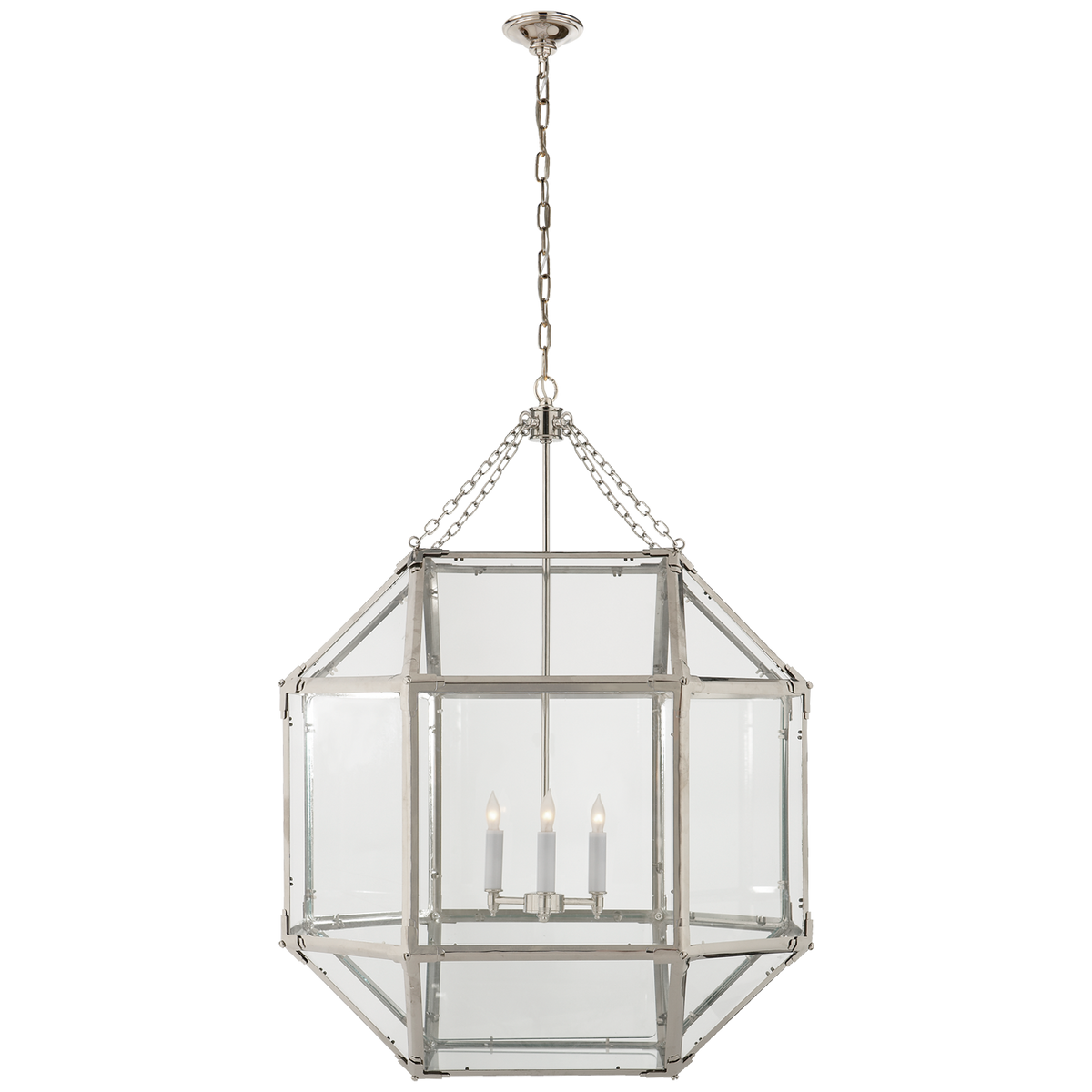 Morris Large Lantern in Polished Nickel with Clear Glass