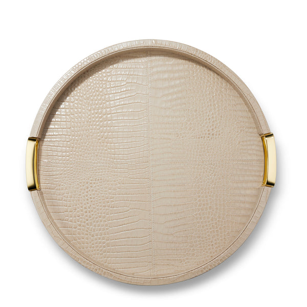 AERIN Carina Croc Leather Round Tray