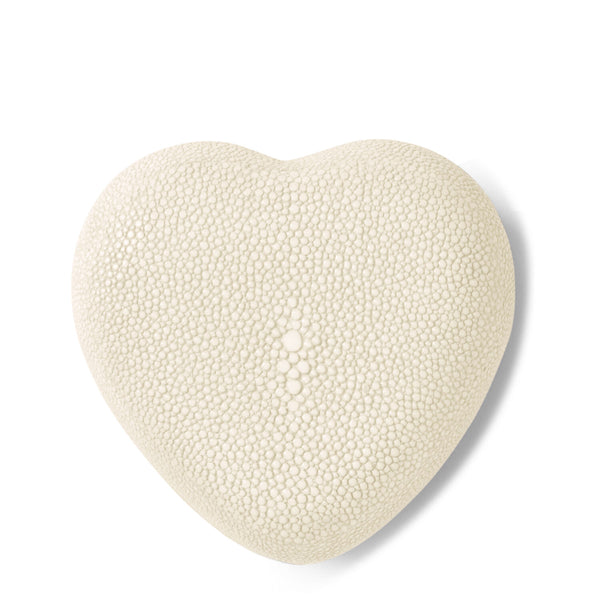 AERIN Shagreen Heart Box, Cream