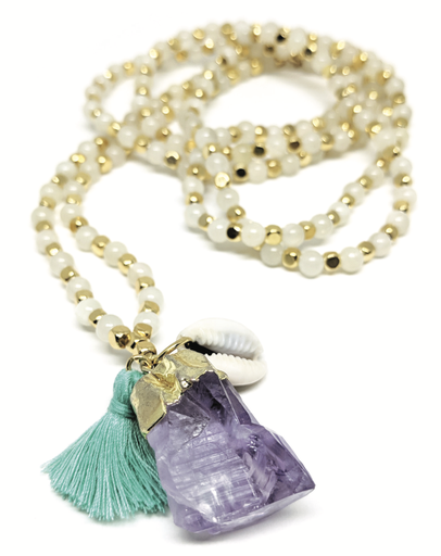 Dyed Jade & Amethyst Long Beaded Necklace